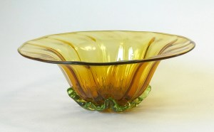 "Ross Delano ""Sissy Flower Bowl"" (Topaz) approx. 5""x3"" blown glass $60."