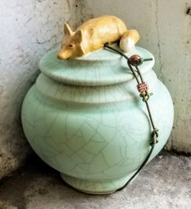 "Carolyn Dilcher-Stutz ""Fox Wish Pot"" approx. 5"" tall $95. Inquire on availability"