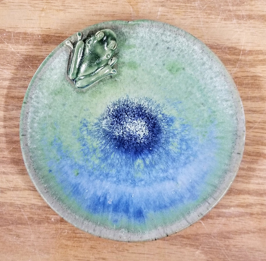 "Carolyn Dilcher-Stutz ""Lilypad Plate with Frog - Blue"" Approx 5"" diameter $55. Inquire on availability"
