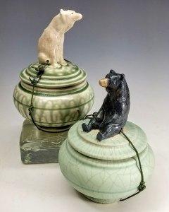 "Carolyn Dilcher-Stutz ""Polar Bear and Black Bear Wish Pots"" Inquire"