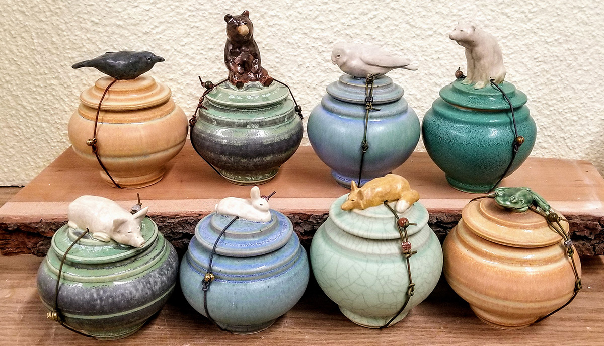 "Carolyn Dilcher-Stutz ""Various Wish Pots"" approx. 4""-6"" tall $95. each Inquire on availability"