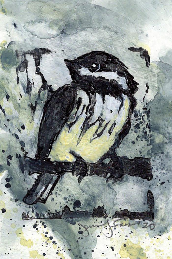"Jennifer Fais ""Chickadee: Spring"" 2x3 hand-painted block print $50."