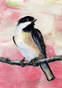"Jennifer Fais ""Chickadee on Mars"" 5x3.5 watercolor on marbleized paper $140."