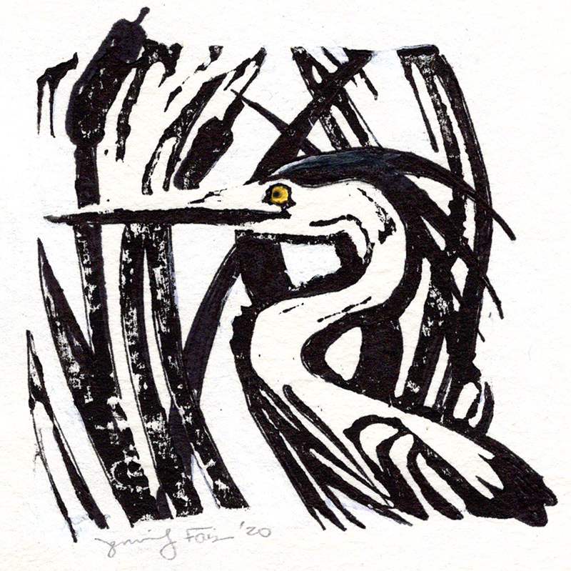 "Jennifer Fais ""Great Blue: Black and White"" 3.5x3.5 hand-painted block print $100."