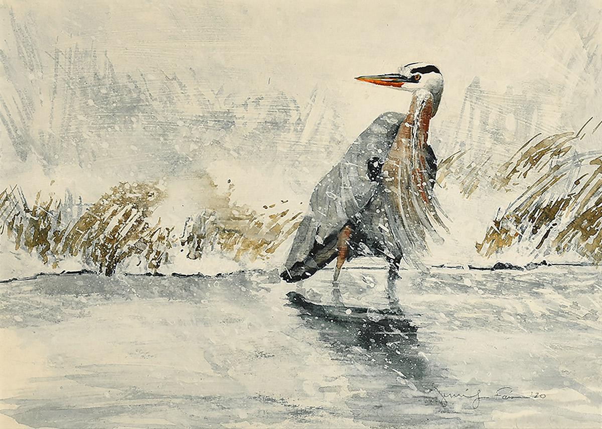 "Jennifer Fais ""Heron in Snow"" 7x10 watercolor/acrylic $270."