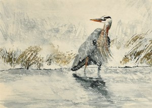 "Jennifer Fais ""Heron in Snow"" 7x10 watercolor/acrylic $270."