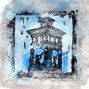 """Jennifer Fais """"Little Joe: Silver"""" 3.5x3.5 hand-painted block print $100."""