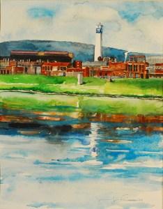 """Jennifer Fais """"Time's Past: Main Plant"""" 9x7 watercolor $250."""