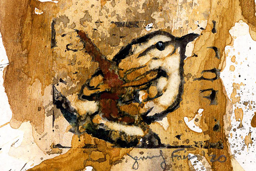 "Jennifer Fais ""Wren: Autumn I"" 2x3 hand-painted block print $50. SOLD"