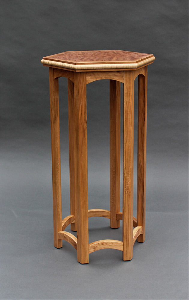 "Tracy Fiegl ""Bazaar"" 30x17x14.5 moabi veneer, cherry, curly maple $990."