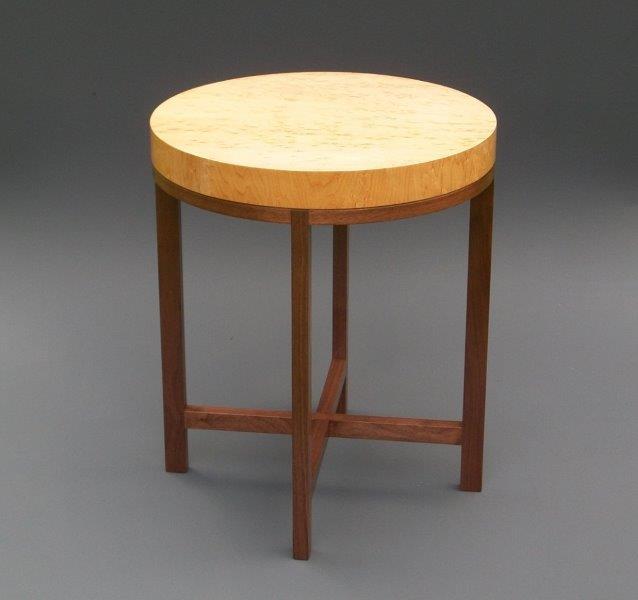 "Tracy Fiegl ""Genoa"" 18.5x18.5x22 birdseye maple veneer/walnut $850."