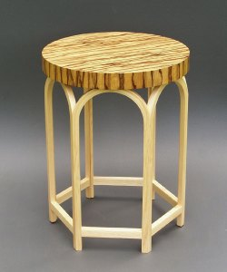 "Tracy Fiegl ""Verona"" table made of limba and ash woods 24"" height x 18"" diameter"