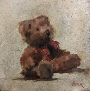 "Rebecca Finch ""Mortimer Ponders Life"" 5x5 oil $250."