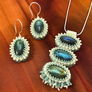 """San Fortune """"Labradorite Pendant and Earring Set"""" 18"""" sterling silver chain and ear wires, glass beads, swarovski crystals $310./set"""