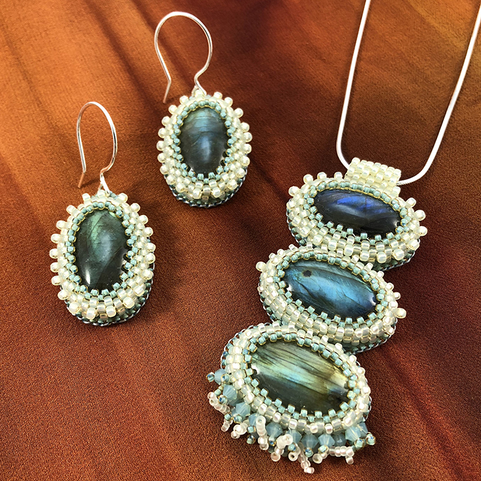 "San Fortune ""Labradorite Pendant and Earring Set"" 18"" sterling silver chain and ear wires, glass beads, swarovski crystals $310./set"