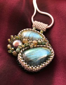 """San Fortune """"Labradorite Pendant - 2 Stones"""" (view B) with freshwater pearl, glass seed beads 18"""" sterling silver chain $186."""