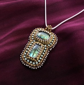 "San Fortune ""Labradorite Pendant with Yellow"" 2.5""x1.5"" crystal cup chain, seed bead bezels, various glass seed beads 18"" sterling silver snake chain $183."