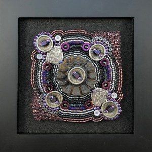"San Fortune ""Exploration No. 5"" 3.5""x3.5"" bead embroidery panel - pottery button focal, metal buttons and leaves, various glass beads $275."