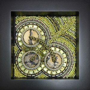 "San Fortune ""Exploration No. 3"" 3.5x3.5 bead embroidery $300."