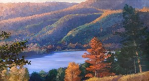 "Tom Gardner ""Autumn Ridges"" 20x36 oil $2,400."