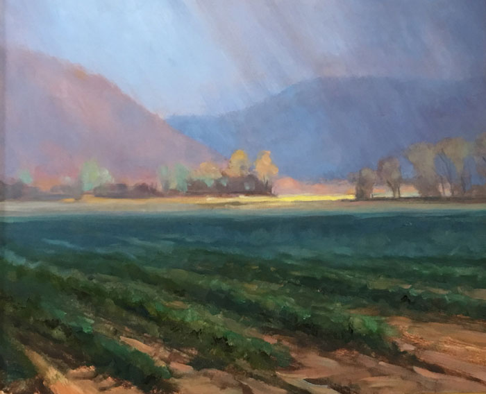 "Tom Gardner ""Breaking Through - Big Flats"" 20x24 oil $1,900."