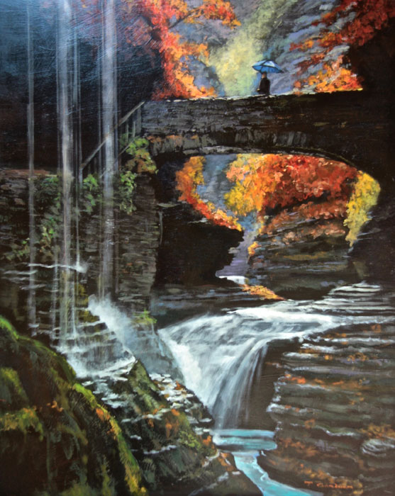 "Tom Gardner ""Bridal Veil Falls"" 30x24 oil $2,200."