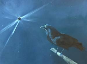 "Tom Gardner ""Solar Eclipse - Crow at Dawn"" 16x20 oil $1,400."