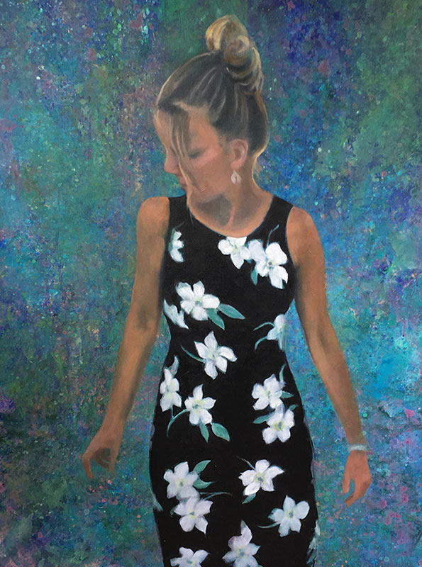 "Tom Gardner ""Flower Dress"" 40x30 oil $3,200."