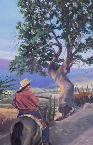 "Tom Gardner ""Gaucho"" 36x24 oil $2,600."