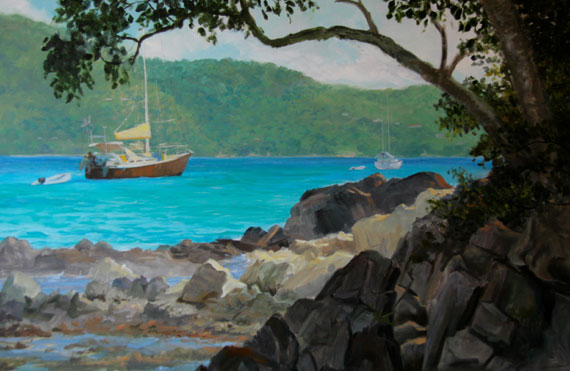 "Tom Gardner ""Hurricane Harbor St. John"" 24x36 oil $2,600."