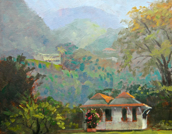 "Tom Gardner ""Island House Dominica"" 8x10 oil $850."