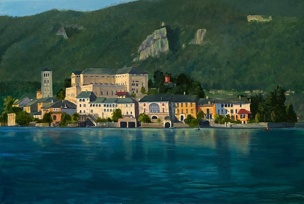 "Tom Gardner ""San Giulio Island"" 24x36 oil $2,600."