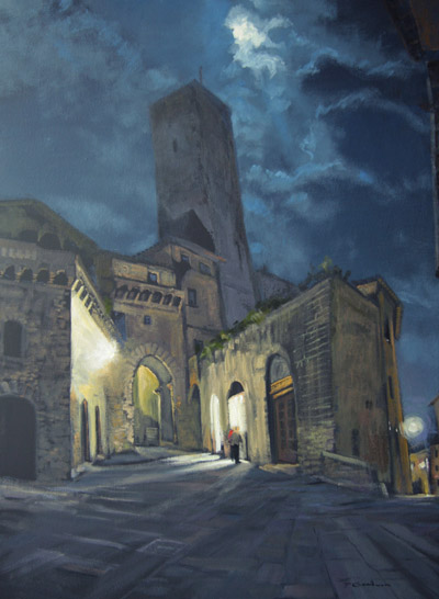 "Tom Gardner ""San Gimignano Moonlight"" 24x18 oil $1,800."