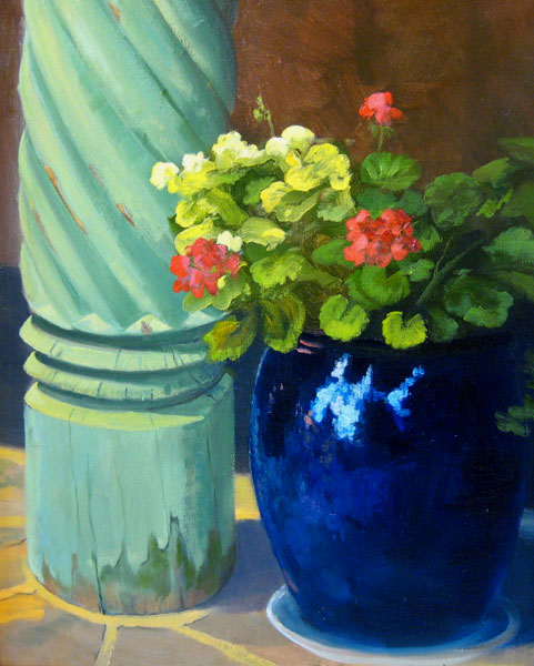 "Tom Gardner ""Santa Fe Flowers and Pillar"" 20x16 oil $1,400."