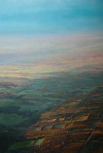"""Tom Gardner """"Sky High Over Dundee"""" 40x30 unframed oil $3,200"""