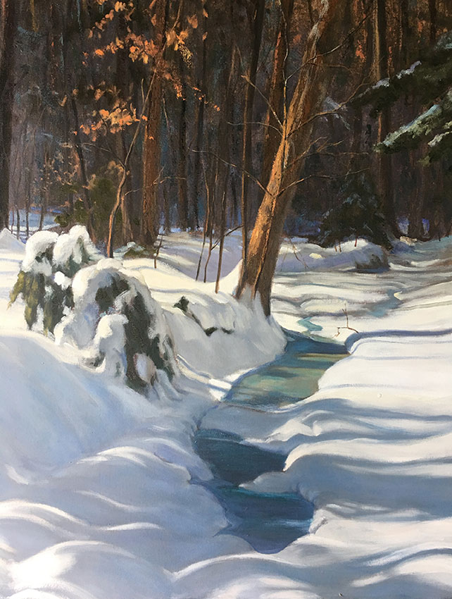 "Tom Gardner ""Snowbound"" 30x24 oil $2,200."