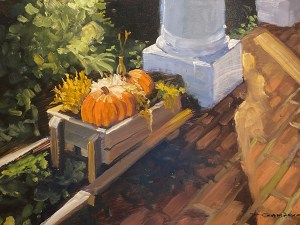 "Tom Gardner ""Sunlit Pumpkins"" 9x12 oil $700."