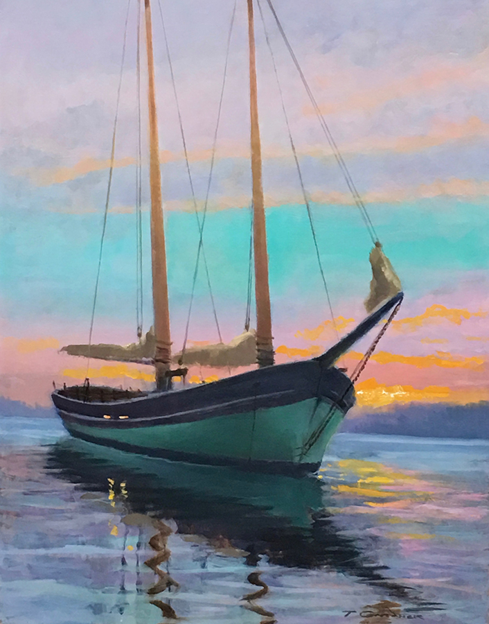 "Tom Gardner ""Sunset"" 16x12 oil $1,050."