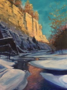 "Tom Gardner ""Taughannock Sundown"" 40x30 oil $3,200."