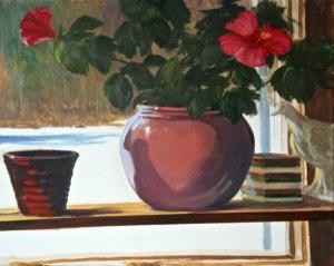 "Tom Gardner ""Winter Hibiscus"" 16x20 oil $1,400."