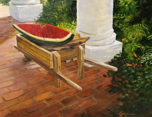 "Tom Gardner ""Wooden Watermelon"" 18x24 oi $1,800."
