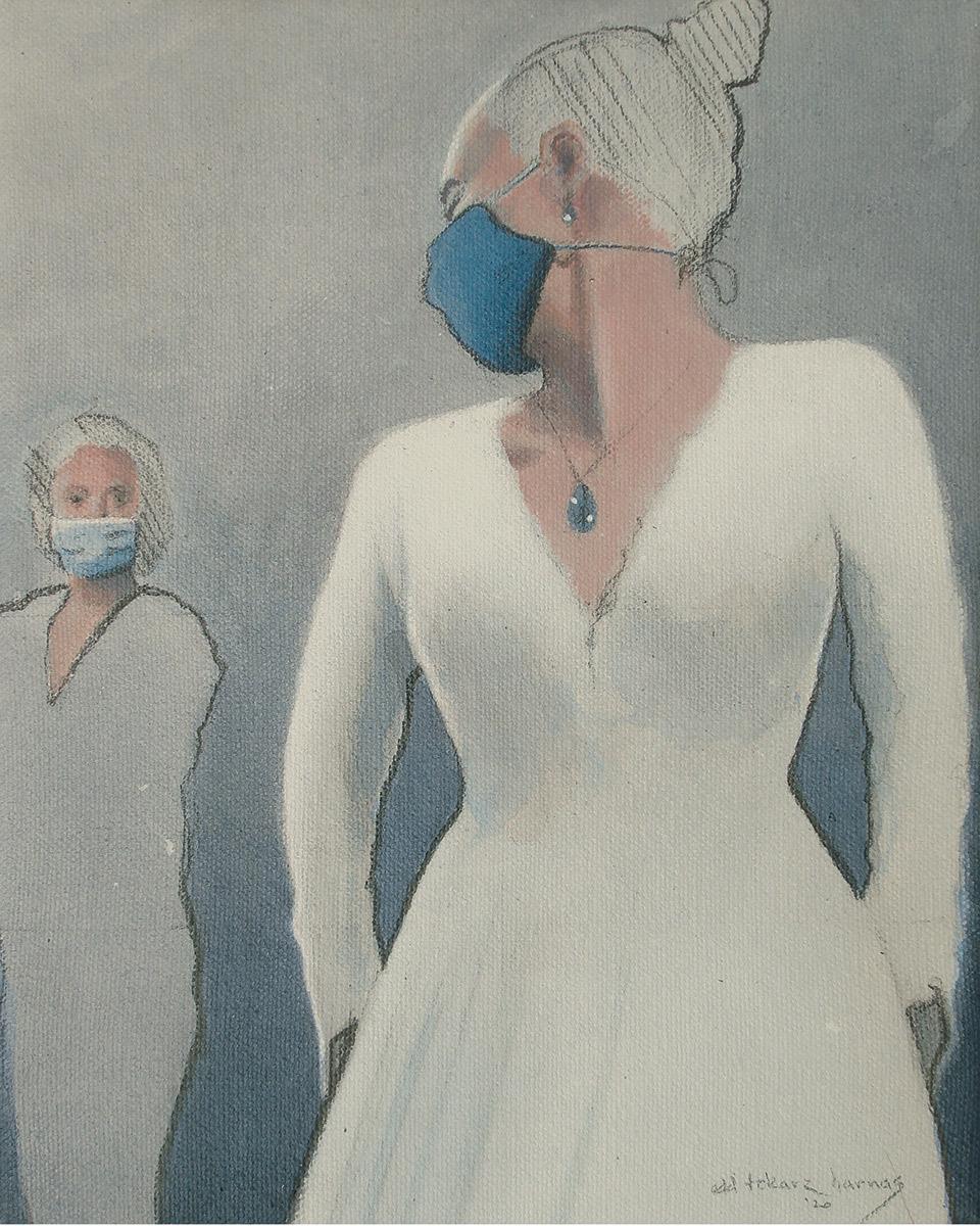 "Edd Tokarz Harnas ""Association Fallacy"" 10x8 pencil/acrylic on gallery wrapped canvas $170."