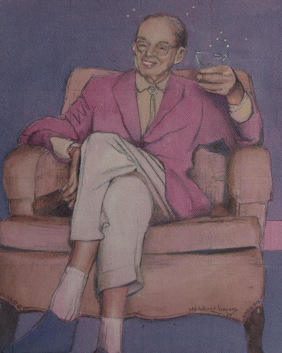 "Edd Tokarz Harnas ""Party Animal"" 10x8 pencil/acrylic on gallery wrapped canvas $170. SOLD"