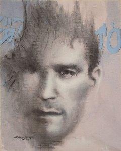"Edd Tokarz Harnas ""The Hyperbolic Discounter"" 10x8 pencil/acrylic on canvas $170."