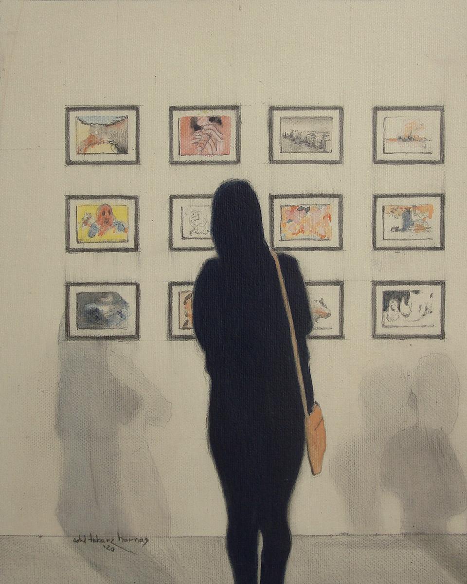 "Edd Tokarz Harnas ""The Moleskines"" 10x8 pencil/acrylic on gallery wrapped canvas $170."