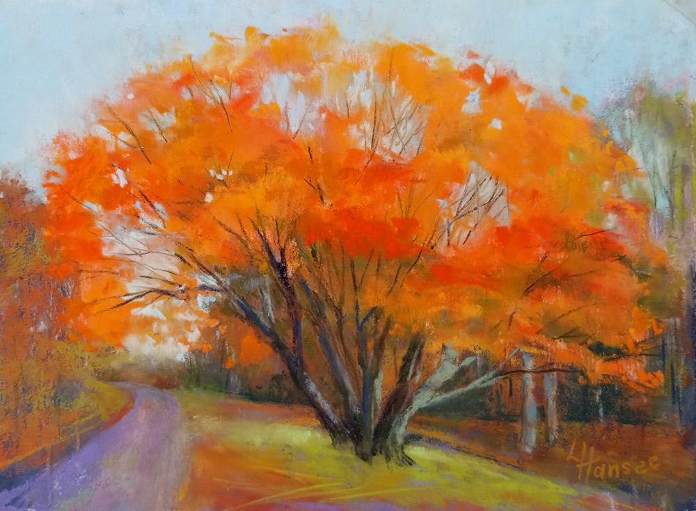 "Linda Hansee ""Autumn Blaze"" 5.75x8.25 pastel $250."
