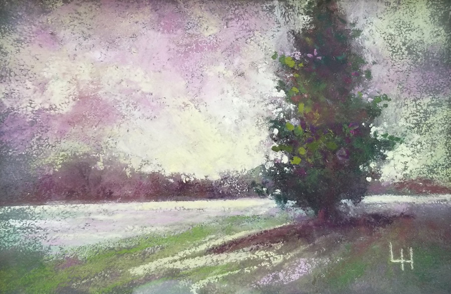 """Linda Hansee """"Color Study - Complementary"""" 4.5x6.5 pastel $195."""