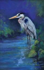 """Linda Hansee """"Great Blue Heron"""" 5x3 pastel $195."""
