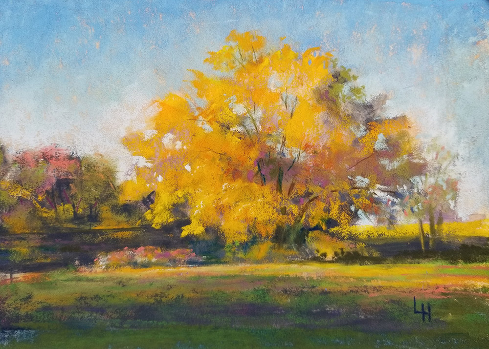 "Linda Hansee ""Morning Light at Bottchers Landing"" 5.5x8 pastel $250. SOLD"
