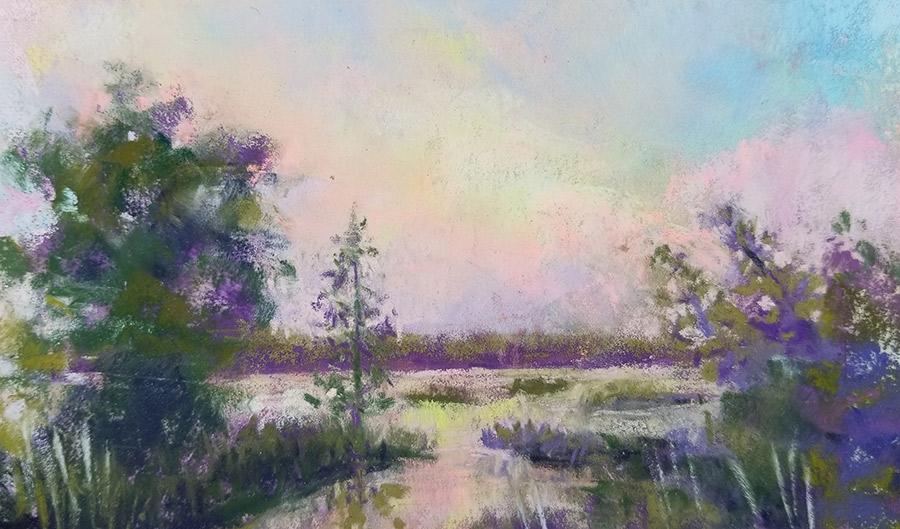 "Linda Hansee ""Pink Dawn"" 3.5x5.5 pastel $195."